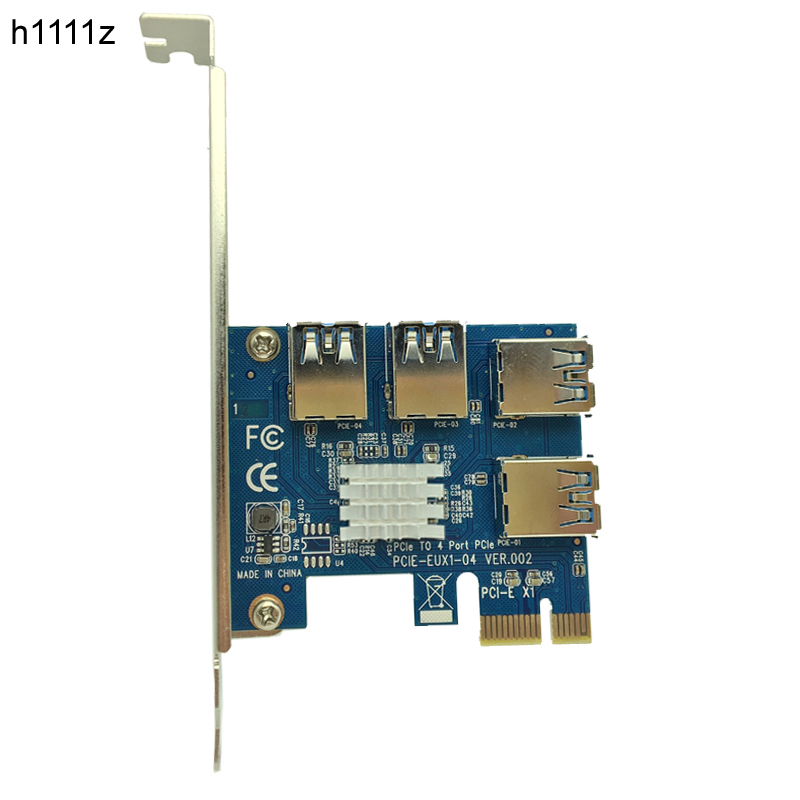 4 Slots PCI-E 1 to 4 PCI Express 16X Slot External PCIE Riser Card Adapter Board USB 3.0 Converter for BTC Miner Mining Machine