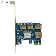 4 yuvaları PCI E 1 ila 4 PCI Express 16X Yuvası Harici PCIE Yükseltici Kart adaptör panosu USB 3.0 Dönüştürücü BTC madenci Madencilik Makinesi