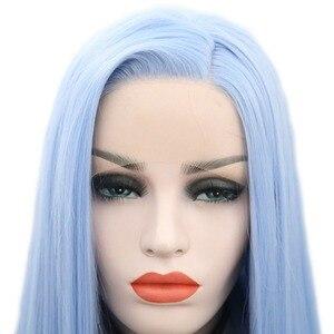 Image 5 - שמחה ויופי 12 inch 28 inch משיי ישר סינטטי תחרה מול פאות שמיים כחול ארוך חום סיבים עמידים שיער משלוח חלק פאות נשים