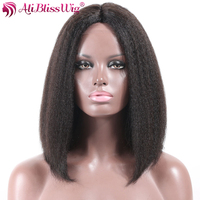 AliBlissWig 100 Human Hair Bob Wigs Middle Part 1B Color Italian Yaki Brazilian Non Remy None
