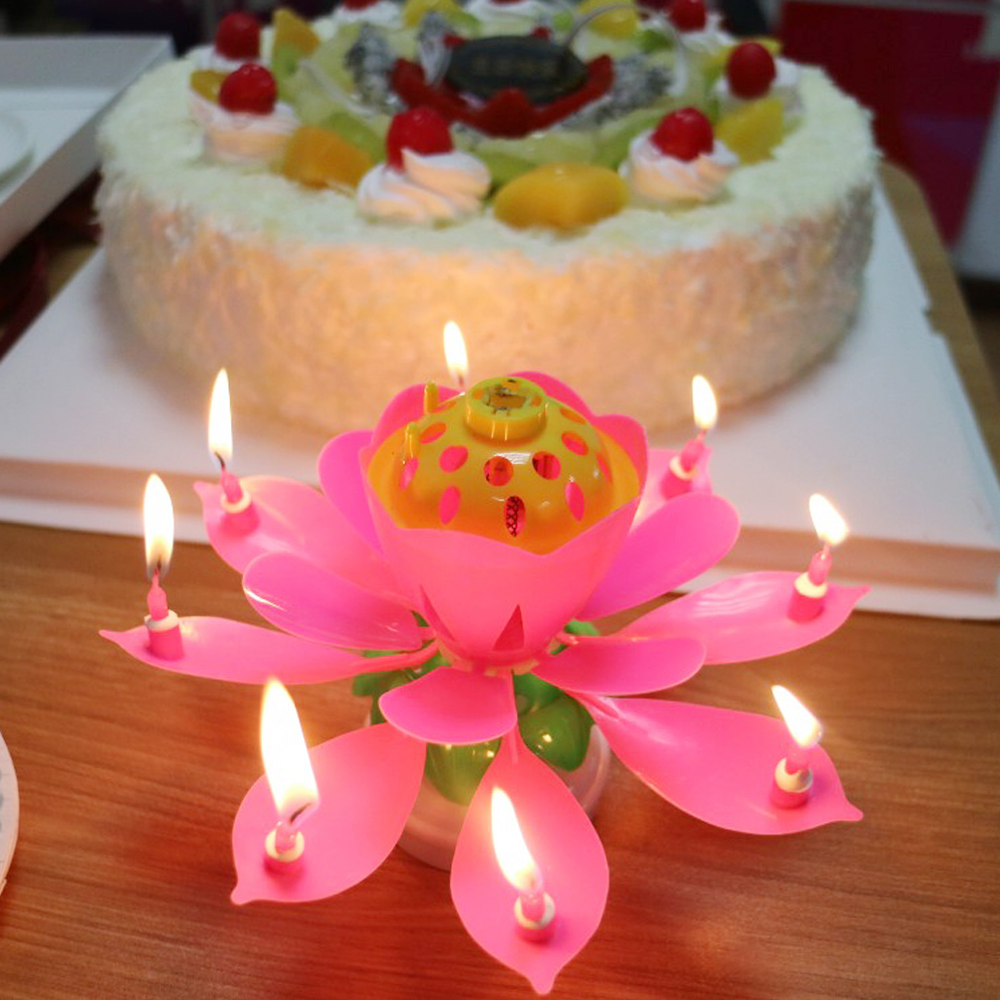Details About ROTATING Lotus Candle Birthday Flower Musical Floral Cake Candles W Music Magic