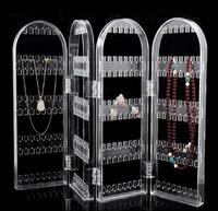 Acrylic Screen Jewelry Display Vertical Earring Foldable Organizer Transparent 4 Door Holder Stand