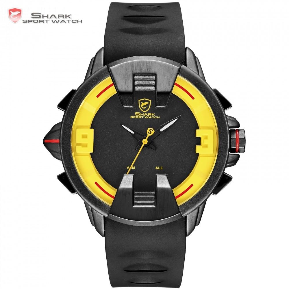 New Wobbegong SHARK Brand Masculino Men Quartz Watches Black Case Silicon Strap Relogio Men Hour LED Digital Sport Clock / SH560