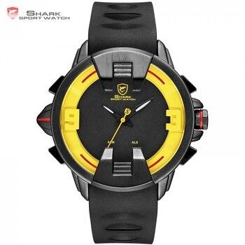 64b6c3fa335d Nuevo tiburón Wobbegong marca Masculino de los hombres relojes de cuarzo  negro caso correa de silicona reloj hombres Hora Digital LED deporte reloj   SH560