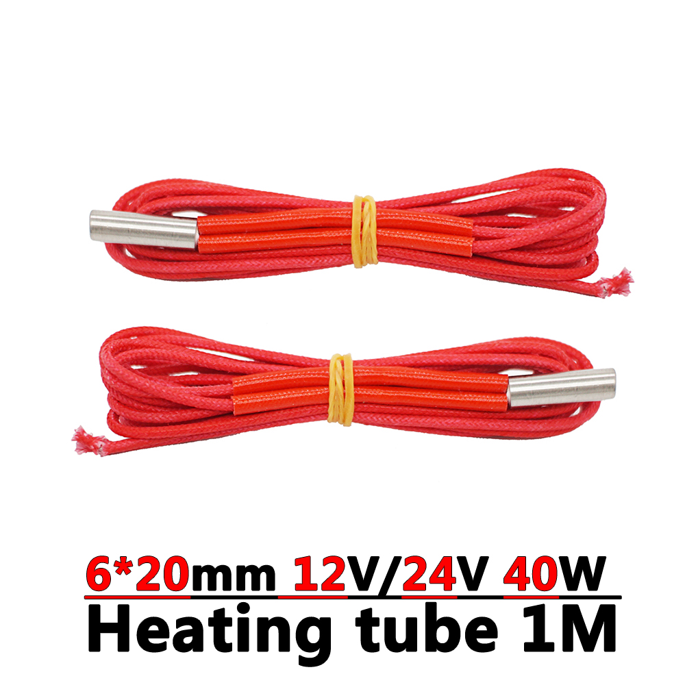 1pc 3D Printer Parts Heating Tube 12V/24V 40W Cartridge Heater 6*20mm For MK8 E3D V6 Extruder Hot End Heat 1M