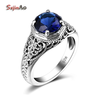 Top Quality Cute Sailor Moon Blue Gem Created Sapphire 925 Sterling SIlver Wedding Finger Vintage Ring