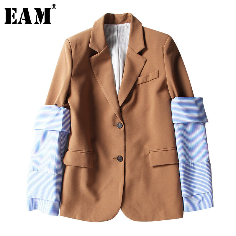 EAM 2019 New Spring Lapel Logn Sleeve Blue Striped Removable Stitching Hit Color Jacket Women