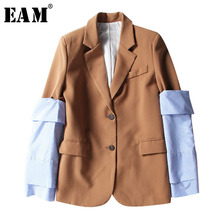 [EAM] 2021 New Spring Lapel Logn Sleeve Blue Striped Removable Stitching Hit Color Jacket  Women Coat Fashion Tide JI825