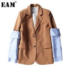 [Eem] 2021 yeni bahar yaka uzun kollu mavi çizgili çıkarılabilir dikiş Hit renk ceket kadın ceket moda gelgit JI825