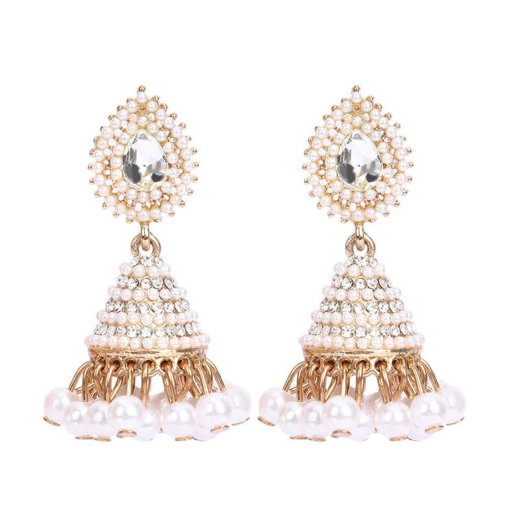 ファッションフェイクイミテーションインド Jhumka Jhumki ドロップイヤリング女性ゴールドロングチェーンウェディングブライダルパーティージュエリーギフト