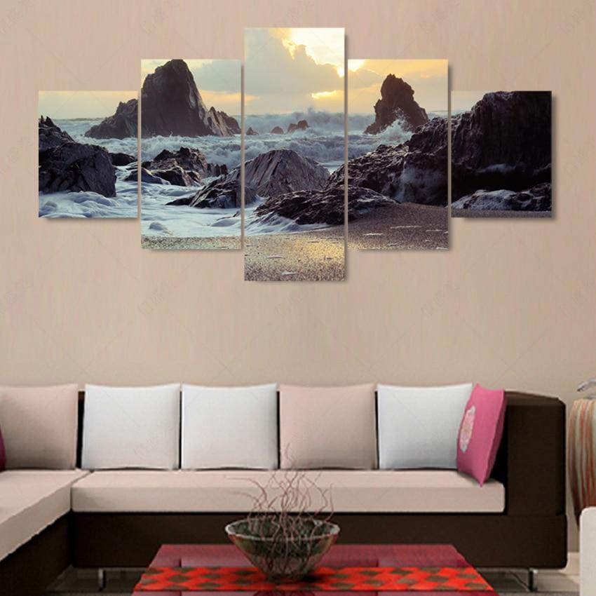 5 Piece Modern (No Frame) Sea Koast Cuadros Decoracion Canvas Oil ...