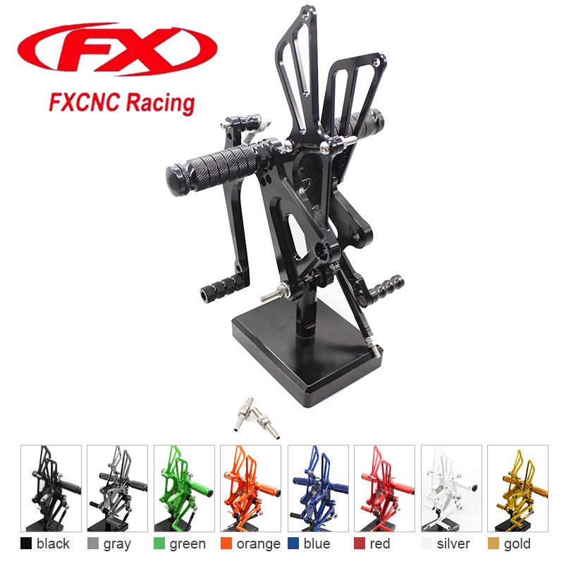 FX CNC Aluminum Adjustable Motorcycle Rearsets Rear Set Foot Pegs Pedal Footrest For HONDA CBR250R 2010 - 2012 2011 Motorcycles free shipping motorcycle parts silver cnc rearsets foot pegs rear set for yamaha yzf r6 2006 2010 2007 2008 motorcycle foot pegs