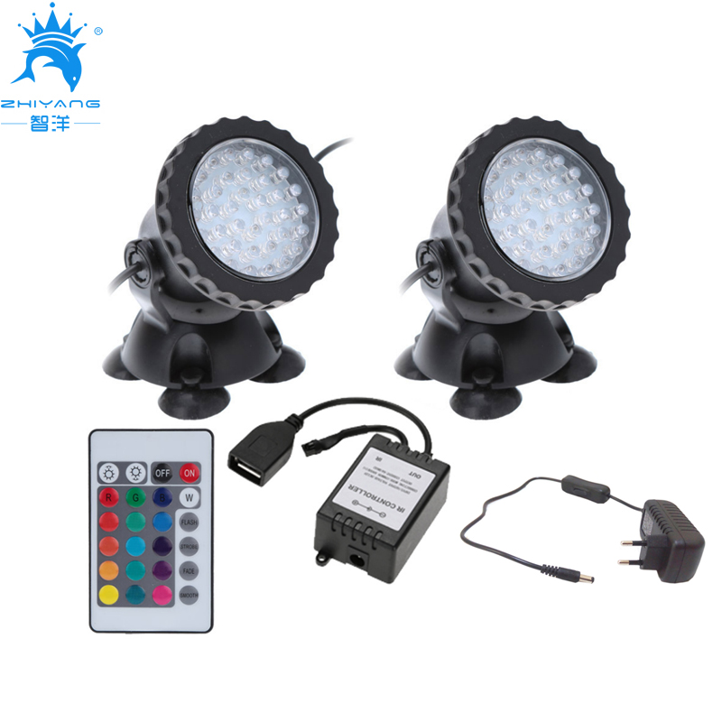 2 in 1 36 LED remote control Submersible Underwater Lamp Spot Light for Garden Fish Tank ...