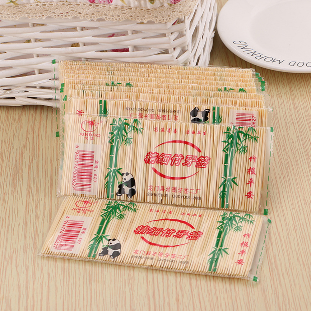 250PCs / Bag worthy bamboo toothpick Disposable Natural Toothpicks Fruit  Double Sharp Tooth Sticks