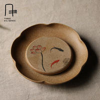 Handmade Tea Cup Holder Ceramic Plate Coffee Mug Saucer Seasoning Dishes Pottery Saucer Tea Ware Tray