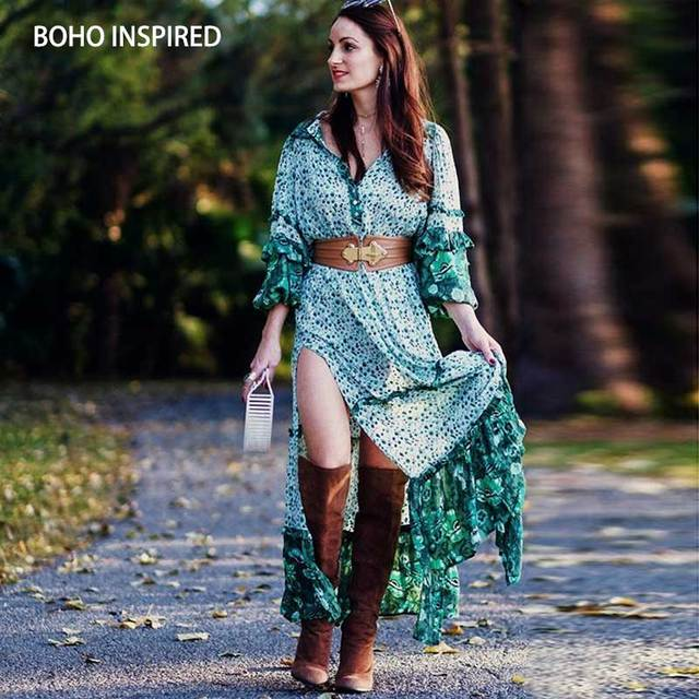 8771c17b130cf US $26.39 40% OFF|summer dress Green floral print long frills sleeve boho  maxi dress rayon slit sides V neck buttons dress women chic vestidos-in ...