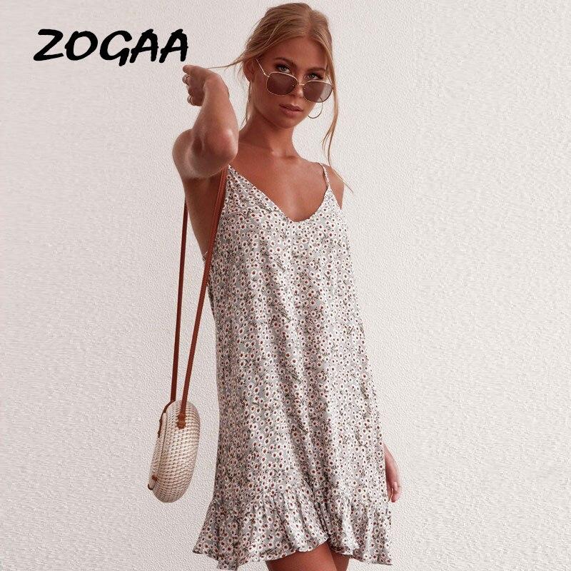 ZOGAA Elegant Full Floral Print Women Dress Spaghetti Strap Backless Casual Holiday Beach Dress Sleeveless Female Spring Vestido in Dresses from Women 39 s Clothing