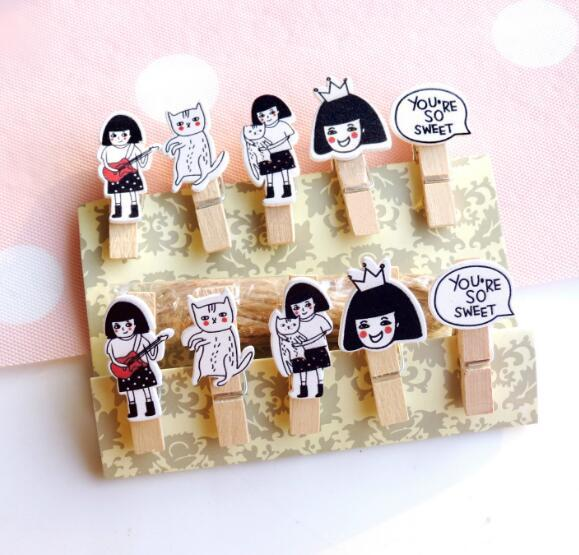 10 Pcs/Lot Cute Cat And Girl Wooden Clip Photo Paper Clothespin Craft Clips Party Decoration Clip With Hemp Rope