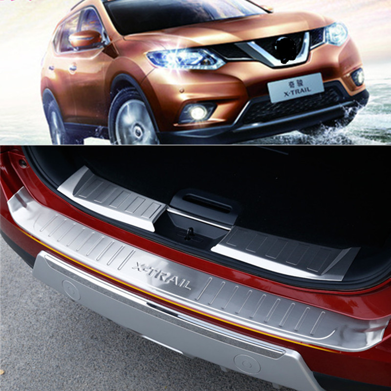 Outer Steel Rear Bumper Protector Cover Trim for Nissan X-Trail Rogue 2014-2016