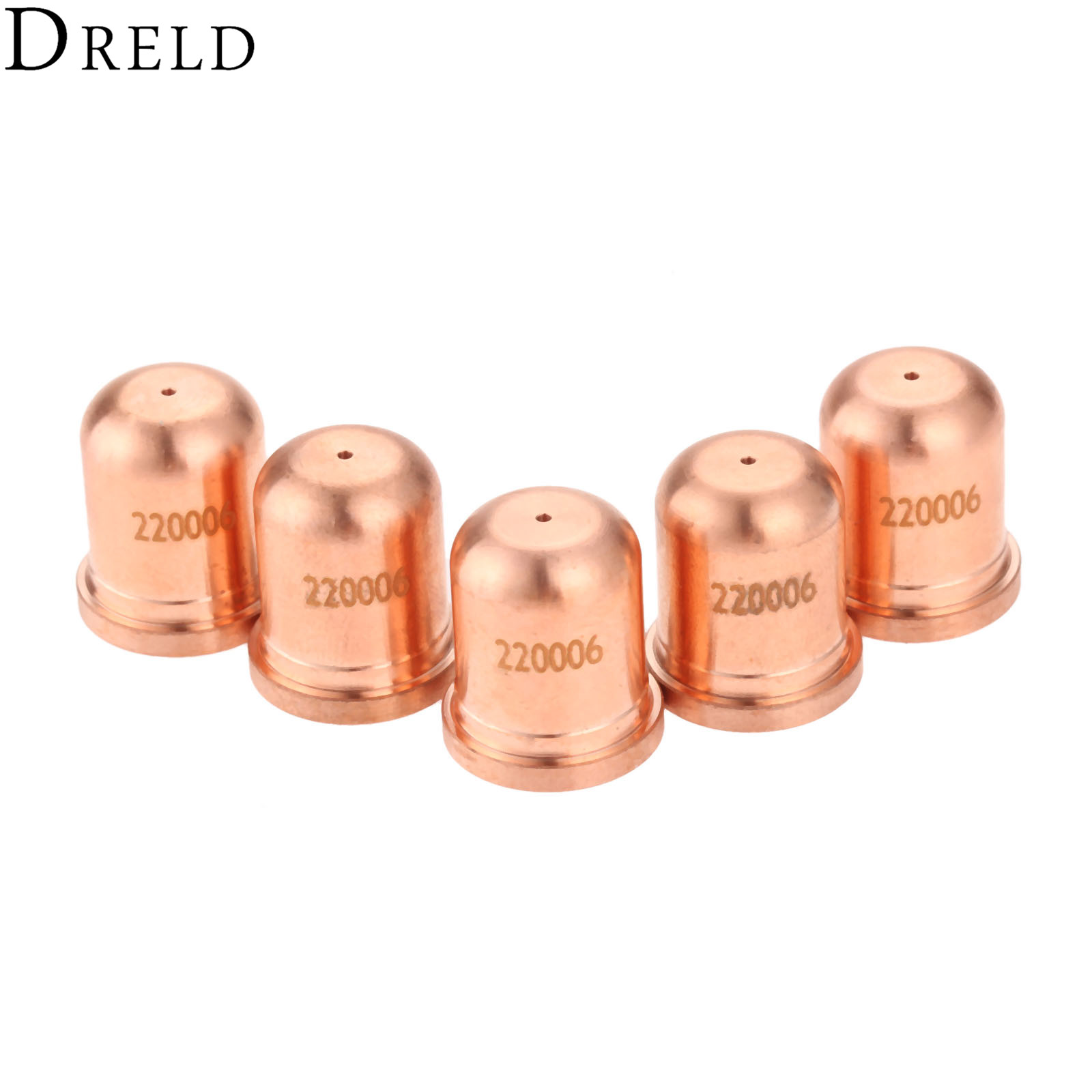 DRELD 5Pcs 40A Nozzle/Tips 220006 Fit For 1000 1250 1650 RT60 RT80 Plasma Cutting Torch Consumables Welding Soldering Supplies