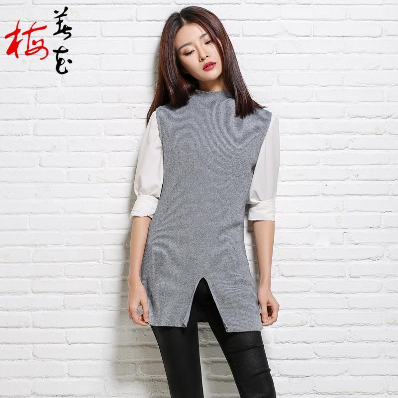 gray Women's Mid beige Knitwear Style Blend Color amp;autumn Camel Golden Knitted Camel Vest Spring Split turtleneck Solid Cashmere Vests Sleeveless wqrnOxHEwA