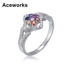 Aceworks Multicolour Opals Gem 100% Authentic 925 Sterling Silver Unisex Rings Women/Men Best Friends Gift Fine Jewelry RN16227