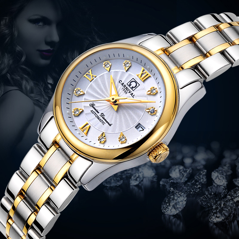Carnival Women Watches Luxury Brand ladies Automatic Mechanical Watch Women Sapphire Waterproof relogio feminino C-8830-15 2017 carnival luxury brand mechanical watch women leather bracelet waterproof sapphire mirror stainless steel automatic watches