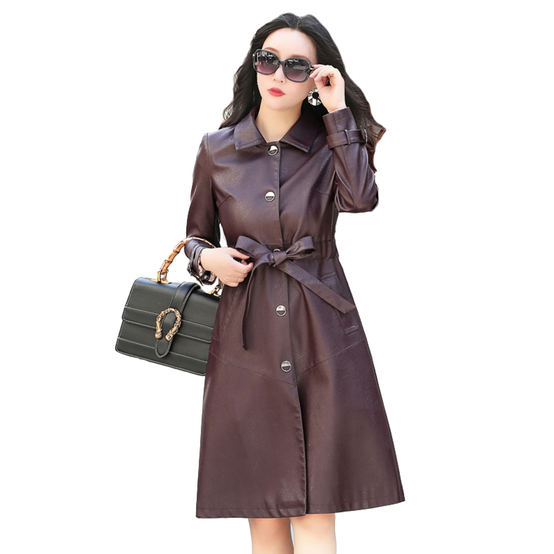 2018 Ladies New high quality   leather   Windbreaker Jackets Fashion Turn-Breasted Single-breasted High Waist Slim Outerwear