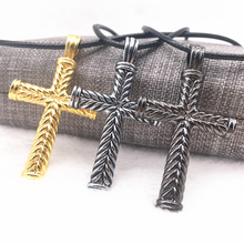 NEW Men Jewelry Gunblack/Gold/silver Plated Initial Letters Carved Imitation Gothic Jesus Cross Titanium Steel Pendant Necklace