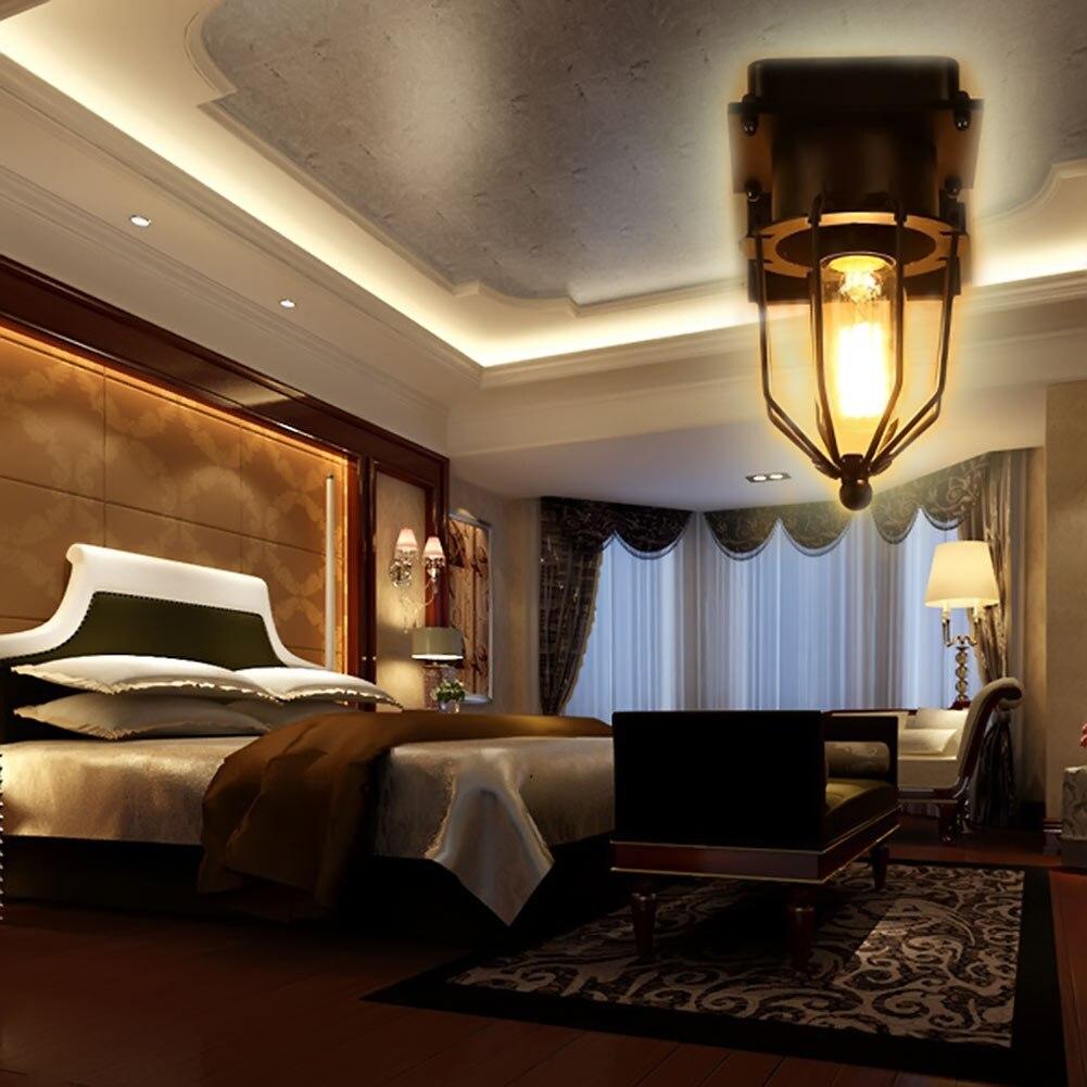 Bedroom wall lighting - Retro Wall Lamp Iron Single Head Diamond Cage Wall Light For Living Room Bed Room Modern