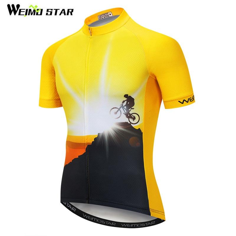 Weimostar Amarelo Bicicleta Camisa Da Equipe de Ciclismo Jersey Montanha Verão Bicicleta Jersey Maillot ciclismo Estrada mtb Corrida de Bicicleta Jersey Tops