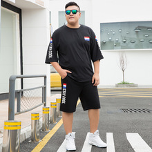 M-9XL Summer Men Sporting suit Shorts Set Mens TShirt Shorts Pants Men Letter Print Tracksuit Men Casual Fat Plus Size men set недорого