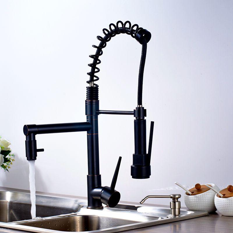 Uythner Modern Solid Brass Oil Rubbed Bronze Kitchen Faucet Mixer ...
