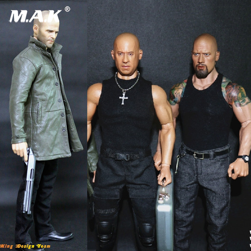 1/6 Scale The Fate Of The Furious Jason Statham/Vin Diesel /Dwayne Johnson Head And Racing Clothing Set For Man Male Body