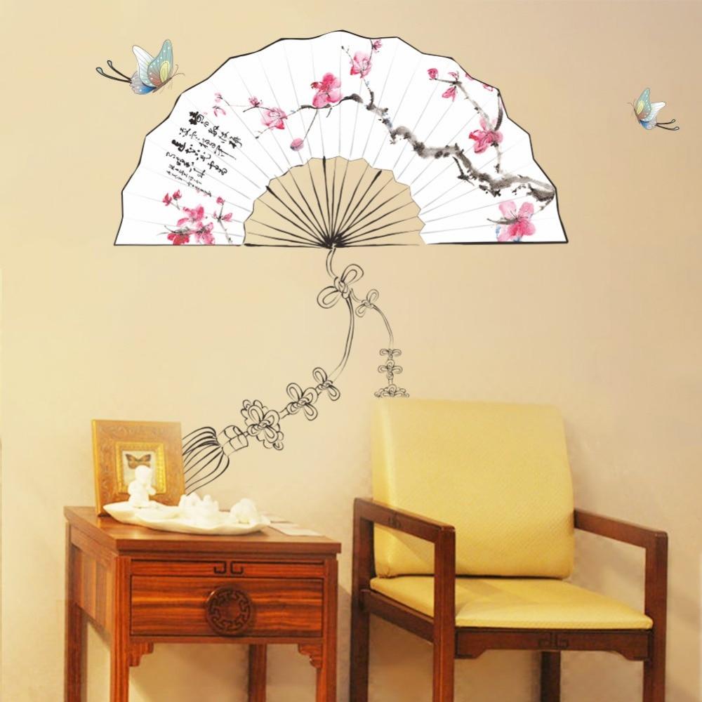 Ventagli Da Parete Decorativi us $4.54 10% di sconto|* pittura a inchiostro plum blossom lotus fiori di  pesco stampa pieghevoli ventagli di carta adesivi murali farfalla sala