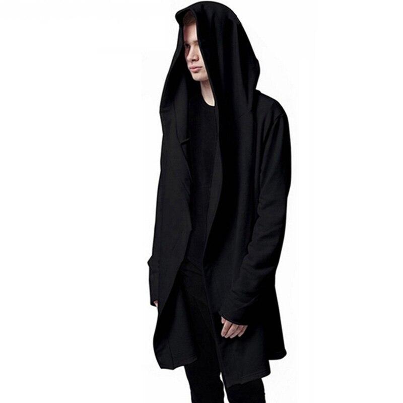 men hooded with black gown fashion hip hop loose mantle. Black Bedroom Furniture Sets. Home Design Ideas