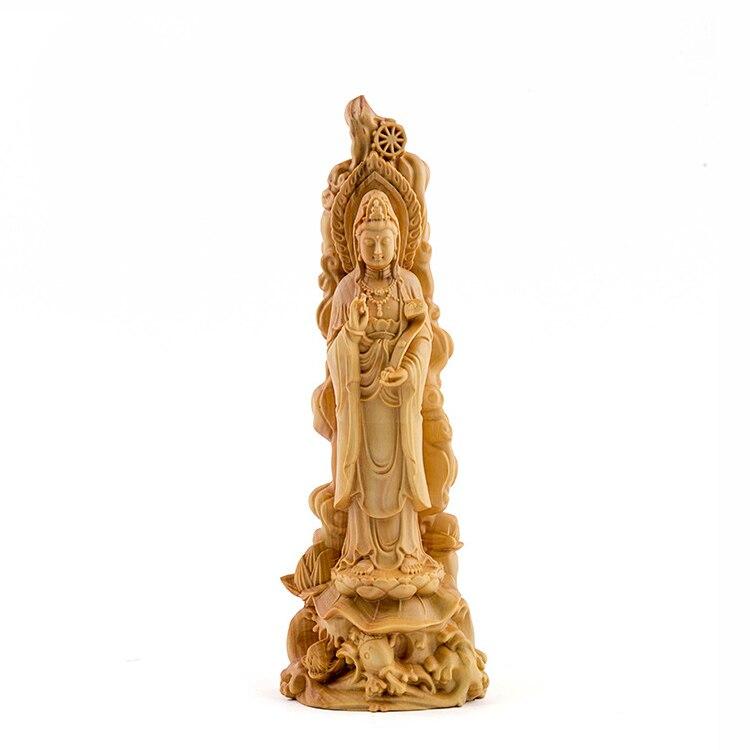 Jade Ruyi Guanyin bouddha statue Lotus poisson étang lumière bouddhisme bois massif folk main Sangha artisanat cadeau fabricants