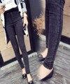 Nuevo modelo de alta calidad del enchufe de fábrica de Otoño de Gran tamaño hembra Jeans Paige fuerza Elástica copo de nieve hembra Jeans Rectos