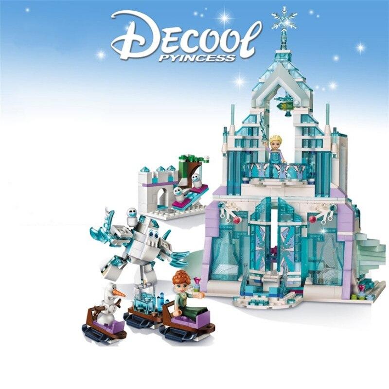 New Legoinglys Princess Series Elsa Anna Magic Ice Castle Palace Model Building Blocks Bricks With Christmas Children Toys Gift