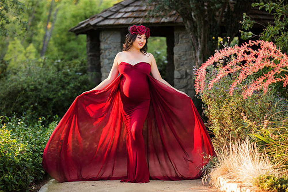 2018 Women Pregnancy Dress For Photo Shooting Sexy Off Shoulder Maxi Maternity Gown Chiffon Maternity Dresses Photography Props (2)