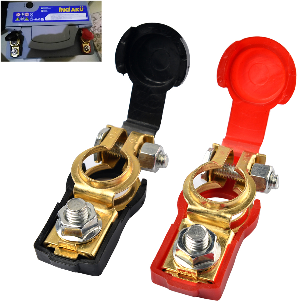 Car Battery Connectors : Pair battery terminal connector clamp clips negative