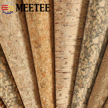 цены Meetee 90X137cm 0.5mm Thick Natural Cork Leather Fabric DIY Bags Shoes Luggage Handmade Craft Wood Grain Decor Material Supply