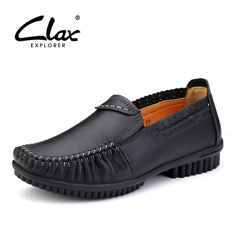 CLAX Women Casual Shoe Genuine Leather 2017 Summer Autumn Shoes Retro Vintage Lady Loafers Leisure Footwear Soft Breathable clax men loafers shoes slip on 2017 summer autumn leather shoe for male casual footwear flat moccasin boat shoe breathable