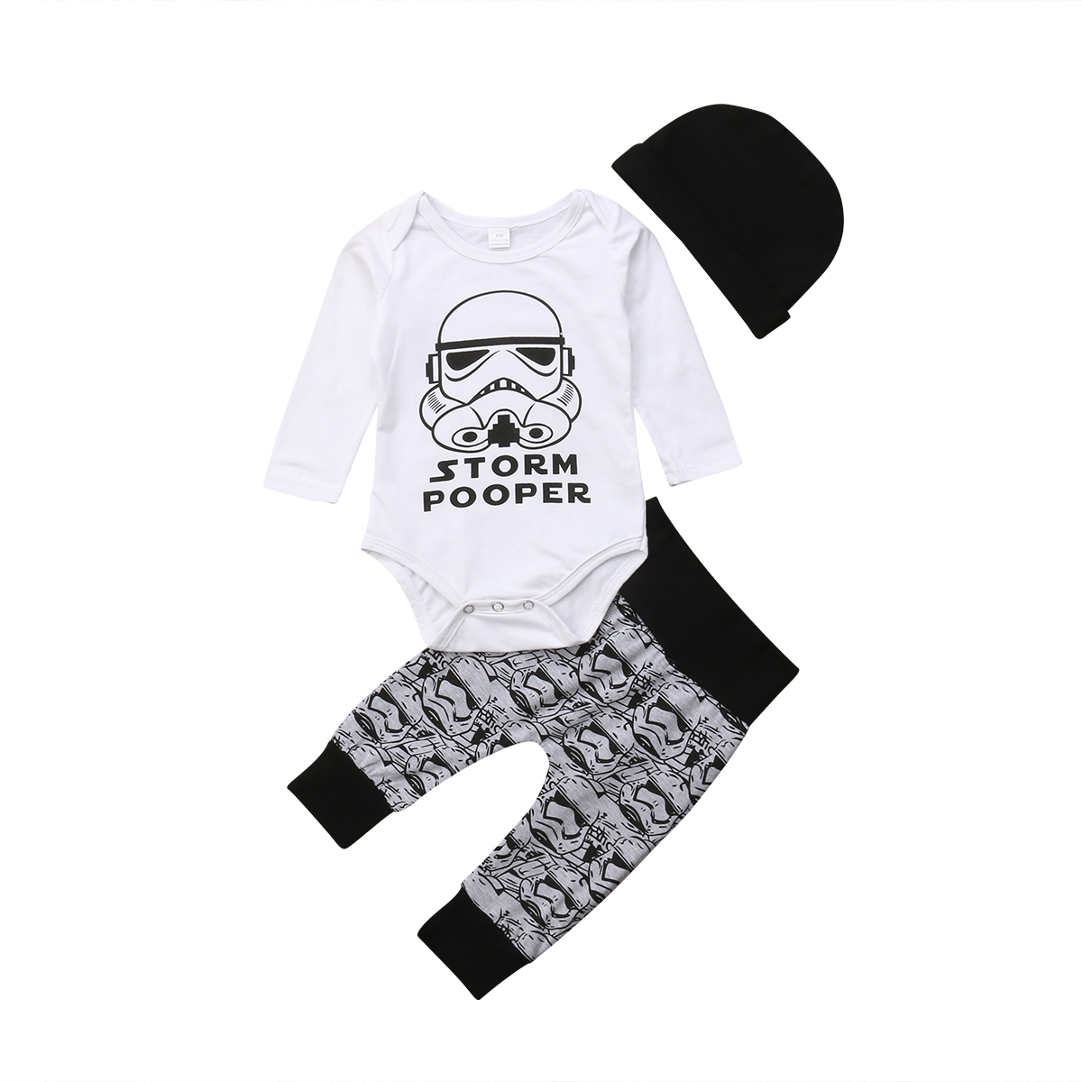 0-18M Newborn Infant Baby Boy Girl Long Sleeve Cotton Romper Tops+Long Pant Hat 3PCS Outfits Cartoon Baby Clothes Set
