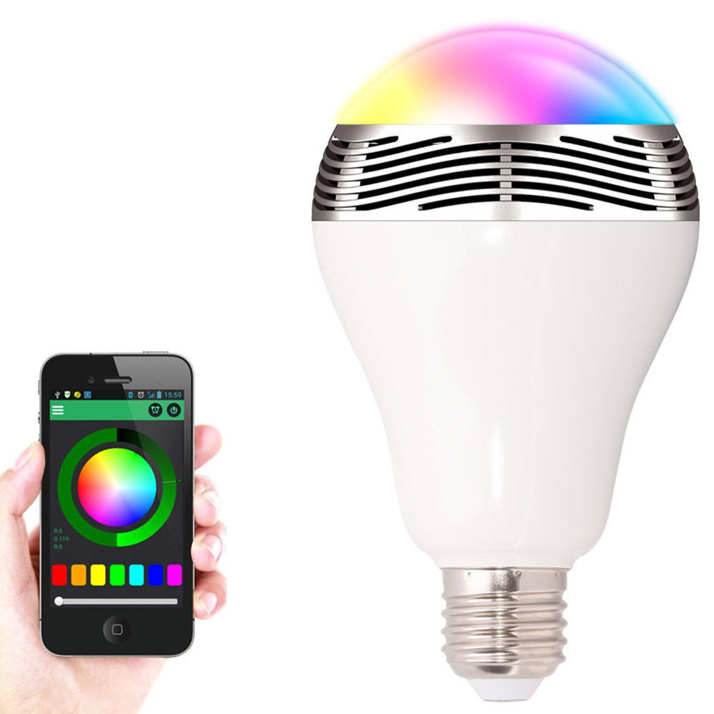 New Smart Light Bulb E27 LED RGB Light Wireless Music Bluetooth LED Lamp Color Changing Bulb App Control Android IOS Smartphone smuxi e27 led rgb wireless bluetooth speaker music smart light bulb 15w playing lamp remote control decor for ios android