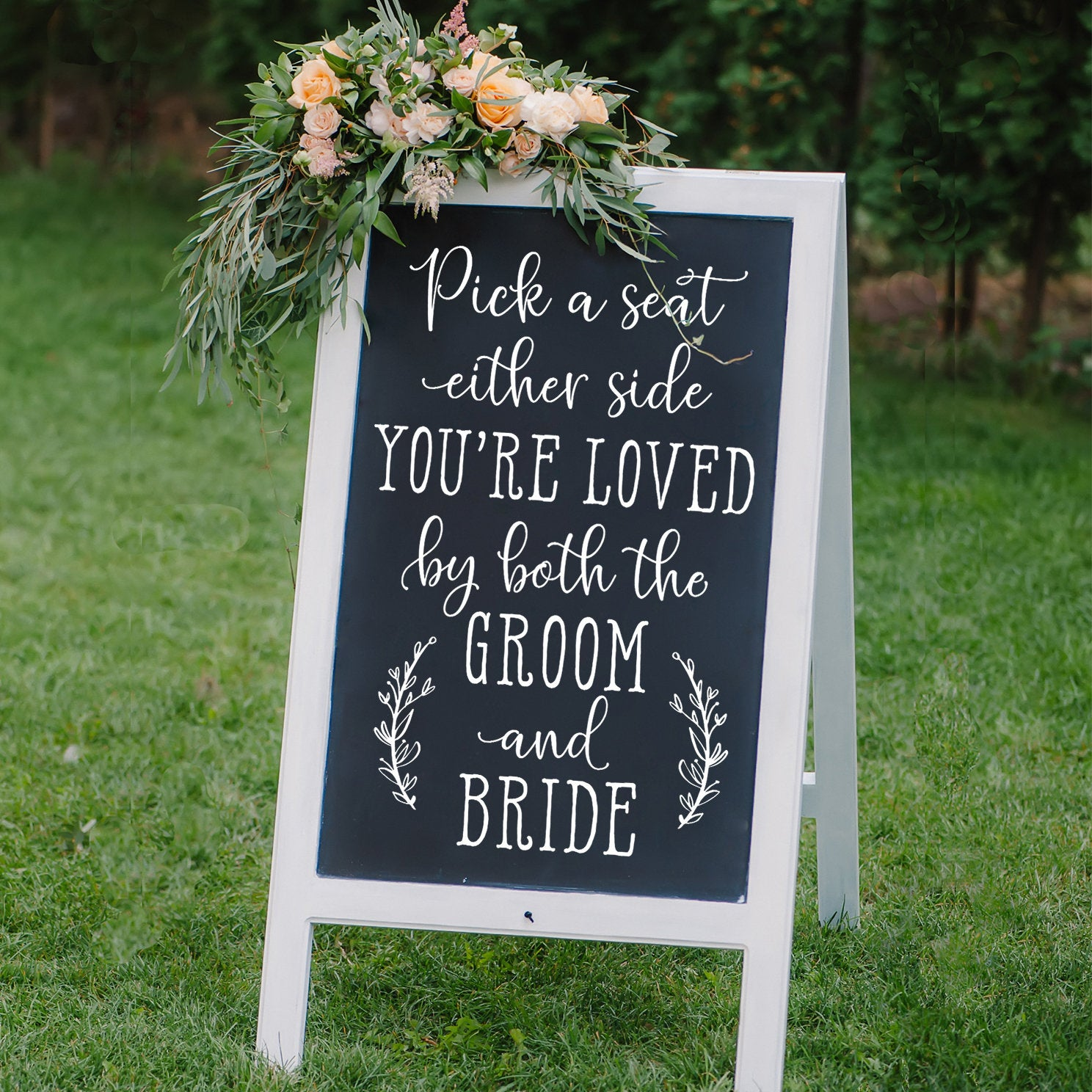 Bride Decals  Pick A Seat DIY Wedding Sign Decal Chalkboard Sign Decal Choose A Seat Either Side Sign Wedding Decor Wall Sticker