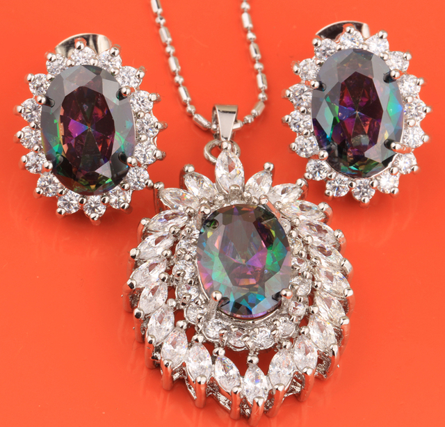 Limited Attractive Rainbow Mystic White 925 Sterling Silver Earring Pendant Necklace Jewelry Sets S8258
