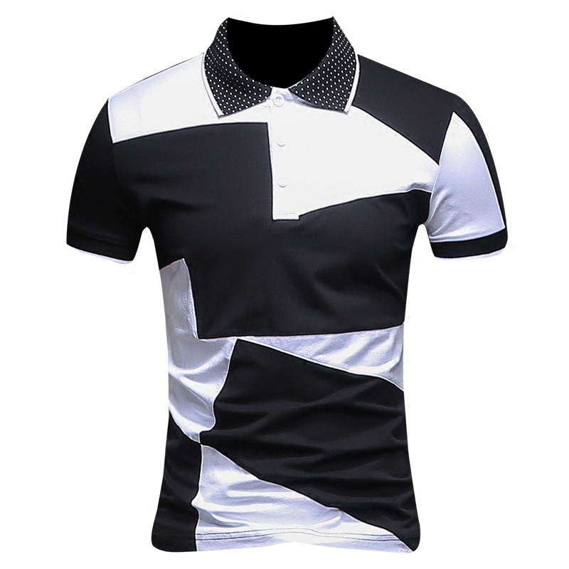 2019 Summer Mens Fashion Boutique Stitching Casual Short-sleeved   Polo   Shirts / Mens Stitching Casual Slim   Polo   Shirts Size M-7XL
