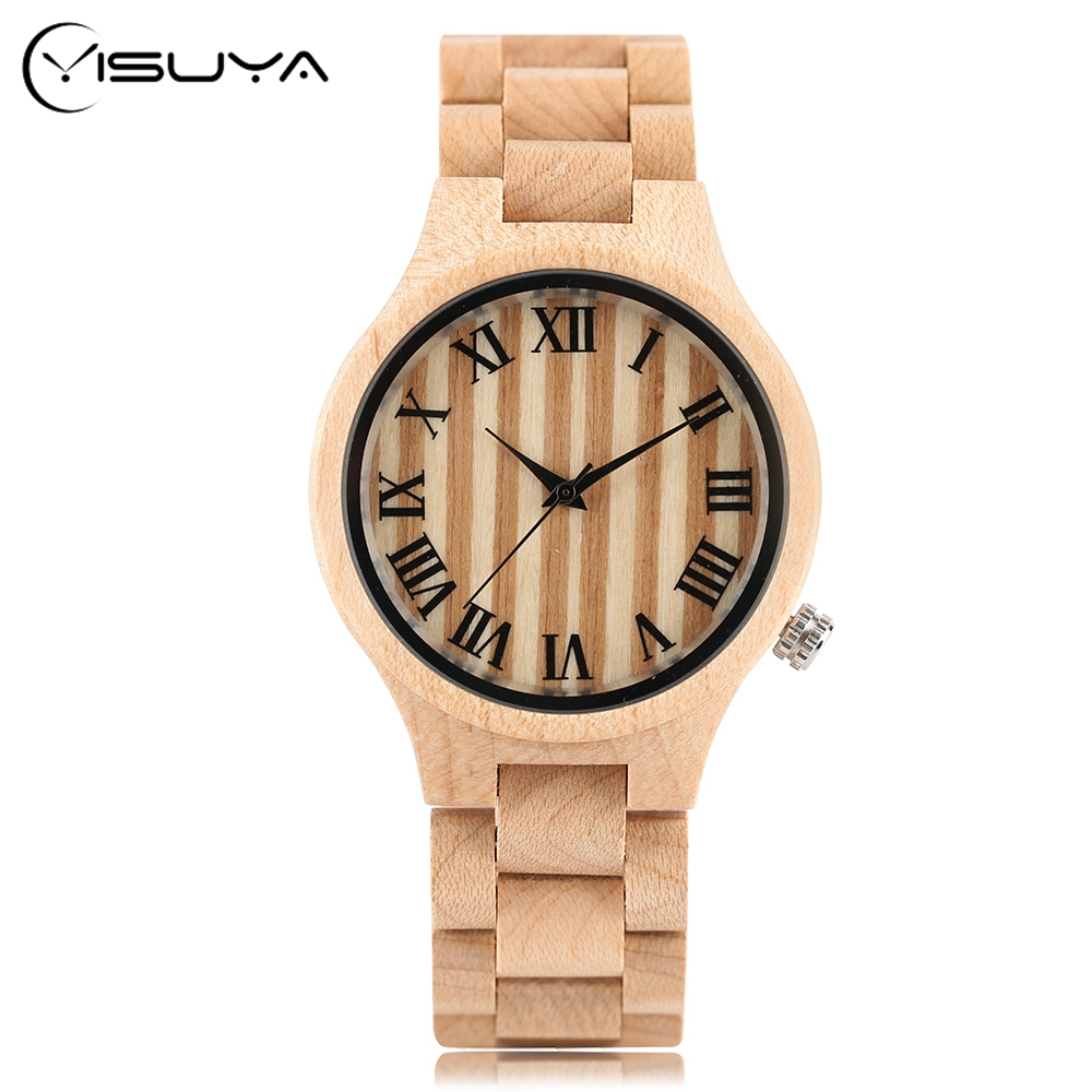 YISUYA Wood Watches Men Watch Vintage Roman Number Clock Men Women Casual Quartz Wooden Wrist Watch Relogio Feminino Masculino redear top brand wood watch men women wooden watches japan miyota fashion watch leather clock relogio feminino relogio masculino