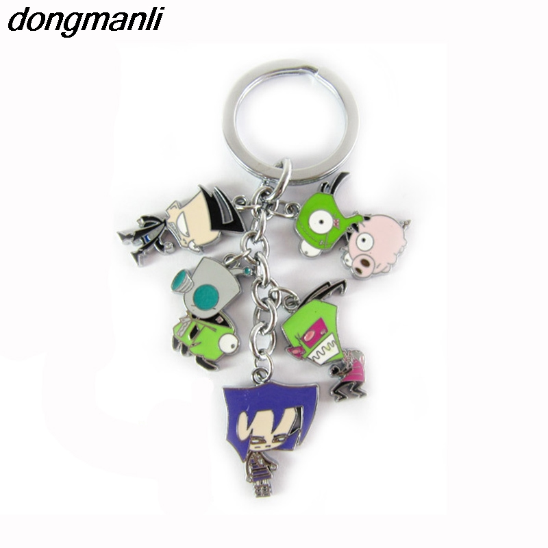 P1691 Dongamnli Cute Anime Cartoon Invader ZIM Metal Car Keychain jewelry Accessories Keyrings Bag Key ChainP1691 Dongamnli Cute Anime Cartoon Invader ZIM Metal Car Keychain jewelry Accessories Keyrings Bag Key Chain